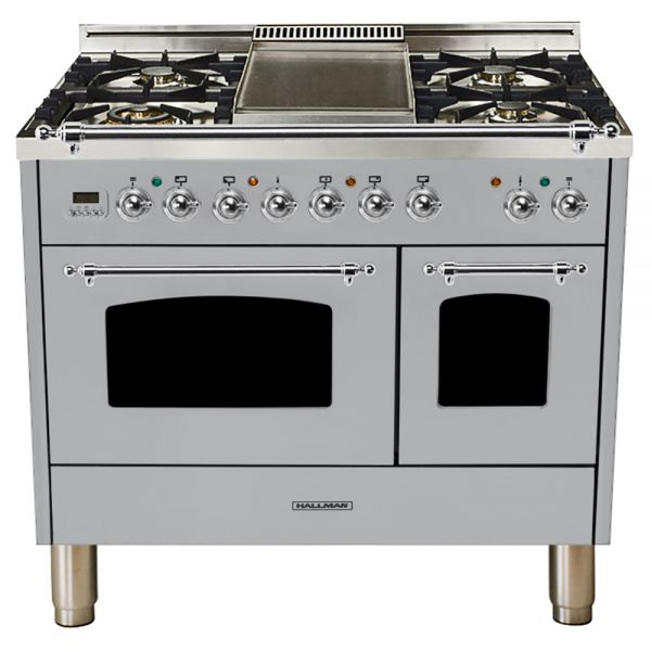 Hallman - 40 in.  Double Oven Dual Fuel Italian 5 Burner Range Gas/Propane (HDFR40) Ranges Natural Gas / Stainless Steel / Chrome,Liquid Propane / Stainless Steel / Chrome Hallman Black