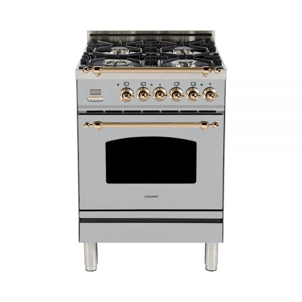 Hallman - 24 in. Single Oven Dual Fuel Italian 4 Burner Range Gas/Propane (HDFR24) Ranges Natural Gas / Stainless Steel / Bronze,Liquid Propane / Stainless Steel / Bronze Hallman Gray