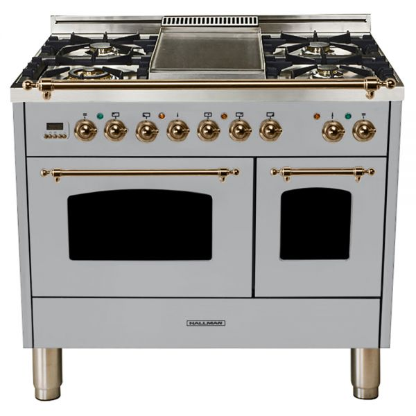 Hallman - 40 in.  Double Oven Dual Fuel Italian 5 Burner Range Gas/Propane (HDFR40) Ranges Natural Gas / Stainless Steel / Bronze,Liquid Propane / Stainless Steel / Bronze Hallman Gray