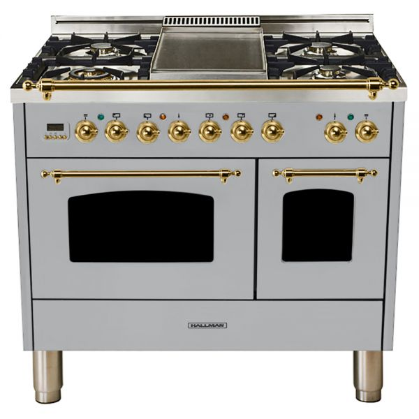 Hallman - 40 in.  Double Oven Dual Fuel Italian 5 Burner Range Gas/Propane (HDFR40) Ranges Natural Gas / Stainless Steel / Brass,Liquid Propane / Stainless Steel / Brass Hallman Black
