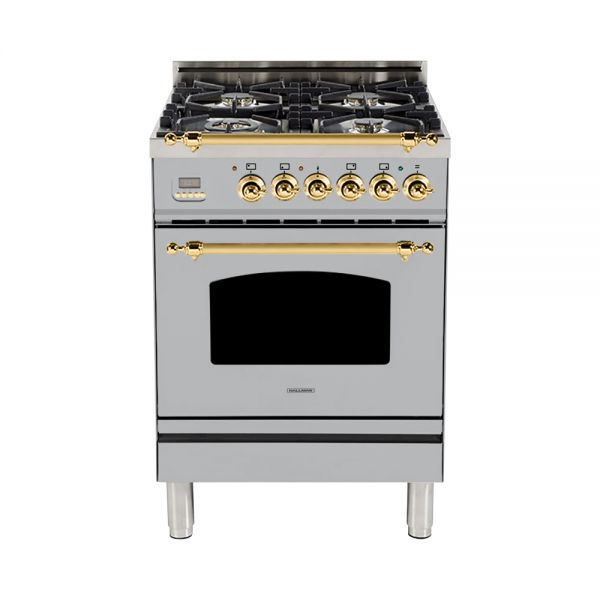 Hallman - 24 in. Single Oven Dual Fuel Italian 4 Burner Range Gas/Propane (HDFR24) Ranges Natural Gas / Stainless Steel / Brass,Liquid Propane / Stainless Steel / Brass Hallman Gray