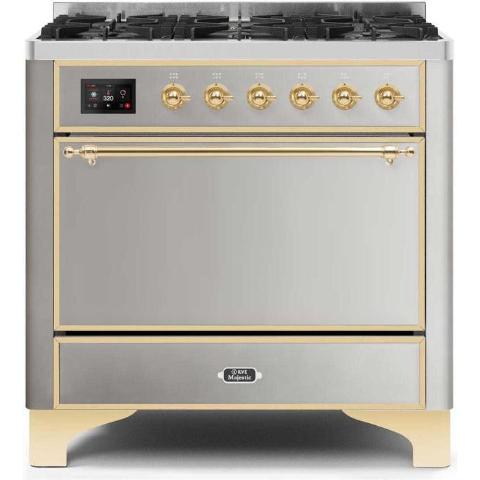 ILVE - Majestic II Series - 36 Inch  Dual Fuel Freestanding Range Gas/Propane (UM096DQNS3)