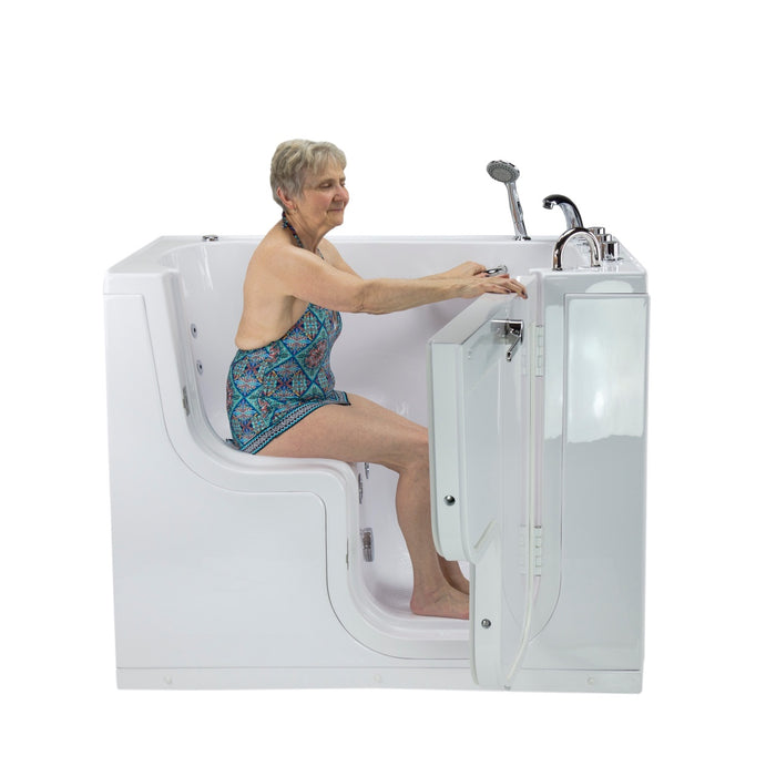 Ellas Bubbles - Ella Transfer26 L-Shaped Outward Swing Door Wheelchair Accessible Acrylic Walk-In Bathtub with 2″ Dual Drain Walk-in Tub Right / Hydro,Right / Hydro+Air,Right / Hydro+Micro,Right / Micro,Right / Soaking,Left / Hydro,Left / Hydro+Air,Left / Hydro+Micro,Left / Micro,Left / Soaking Ella's Bubbles Gray