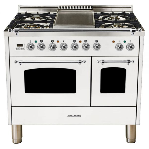 Hallman - 40 in.  Double Oven Dual Fuel Italian 5 Burner Range Gas/Propane (HDFR40) Ranges Natural Gas / White / Chrome,Liquid Propane / White / Chrome Hallman White Smoke