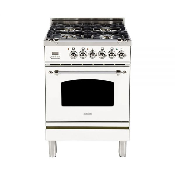 Hallman - 24 in. Single Oven Dual Fuel Italian 4 Burner Range Gas/Propane (HDFR24) Ranges Natural Gas / White / Chrome,Liquid Propane / White / Chrome Hallman Black