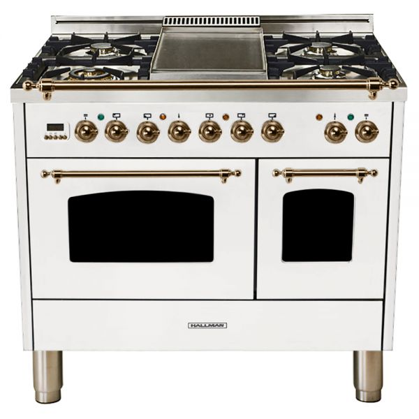 Hallman - 40 in.  Double Oven Dual Fuel Italian 5 Burner Range Gas/Propane (HDFR40) Ranges Natural Gas / White / Bronze,Liquid Propane / White / Bronze Hallman Black