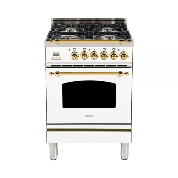 Hallman - 24 in. Single Oven Dual Fuel Italian 4 Burner Range Gas/Propane (HDFR24) Ranges Natural Gas / White / Brass,Liquid Propane / White / Brass Hallman Black