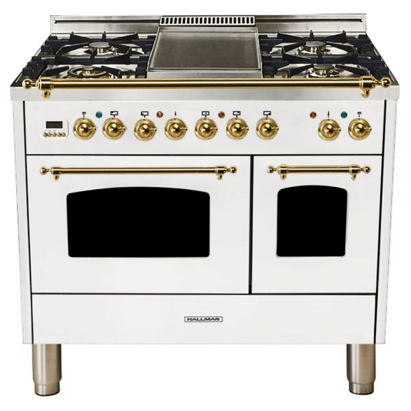Hallman - 40 in.  Double Oven Dual Fuel Italian 5 Burner Range Gas/Propane (HDFR40) Ranges Natural Gas / White / Brass,Liquid Propane / White / Brass Hallman Beige