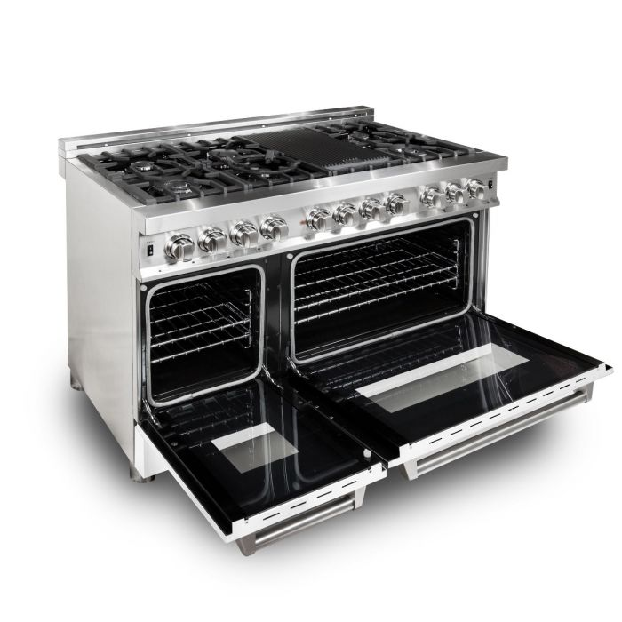 ZLINE - 48 IN. PROFESSIONAL DUAL FUEL RANGE WITH WHITE MATTE DOOR - RA-WM-48 Ranges Default Title Zline Black