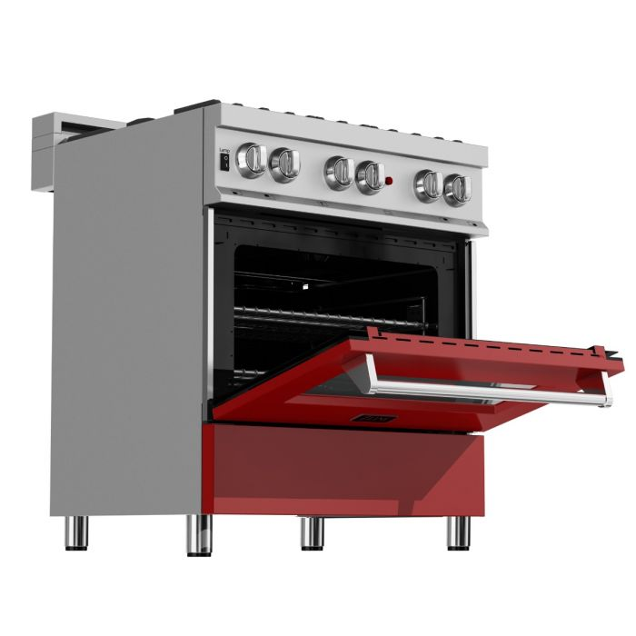 ZLINE - 30 IN. PROFESSIONAL DUAL FUEL RANGE IN DURASNOW® STAINLESS STEEL WITH RED MATTE DOOR - RAS-RM-30 Ranges Default Title Zline Dark Red