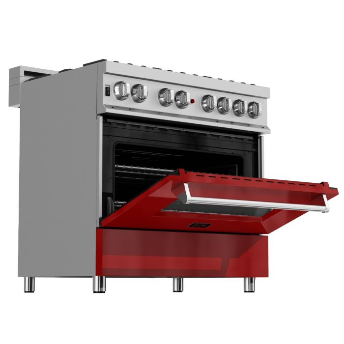 ZLINE - 36 IN. PROFESSIONAL DUAL FUEL RANGE IN DURASNOW® STAINLESS STEEL WITH RED GLOSS DOOR - RAS-RG-36 Ranges Default Title Zline Saddle Brown