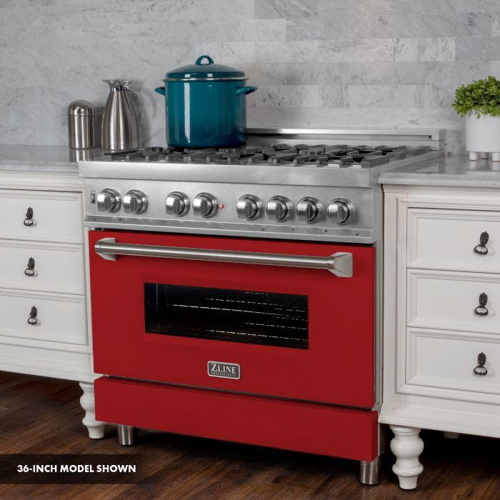 ZLINE - 30 IN. PROFESSIONAL DUAL FUEL RANGE IN DURASNOW® STAINLESS STEEL WITH RED MATTE DOOR - RAS-RM-30 Ranges Default Title Zline Brown