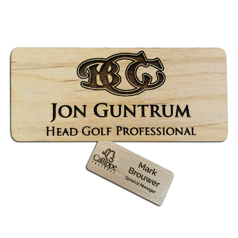 Wooden Magnetic Name Tags