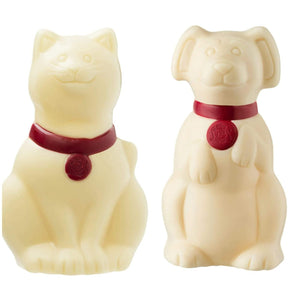 Cat or Dog White Chocolate Figure 50g. - www.chocolateorders.com - Leonidas Brighton