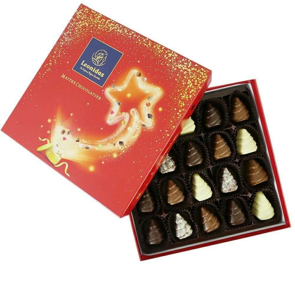 Christmas Tree Chocolates in Festive Red Box - www.chocolateorders.com