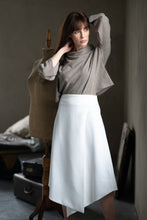 Load image into Gallery viewer, Cream Woolen Skirt - Amelie et Sophie