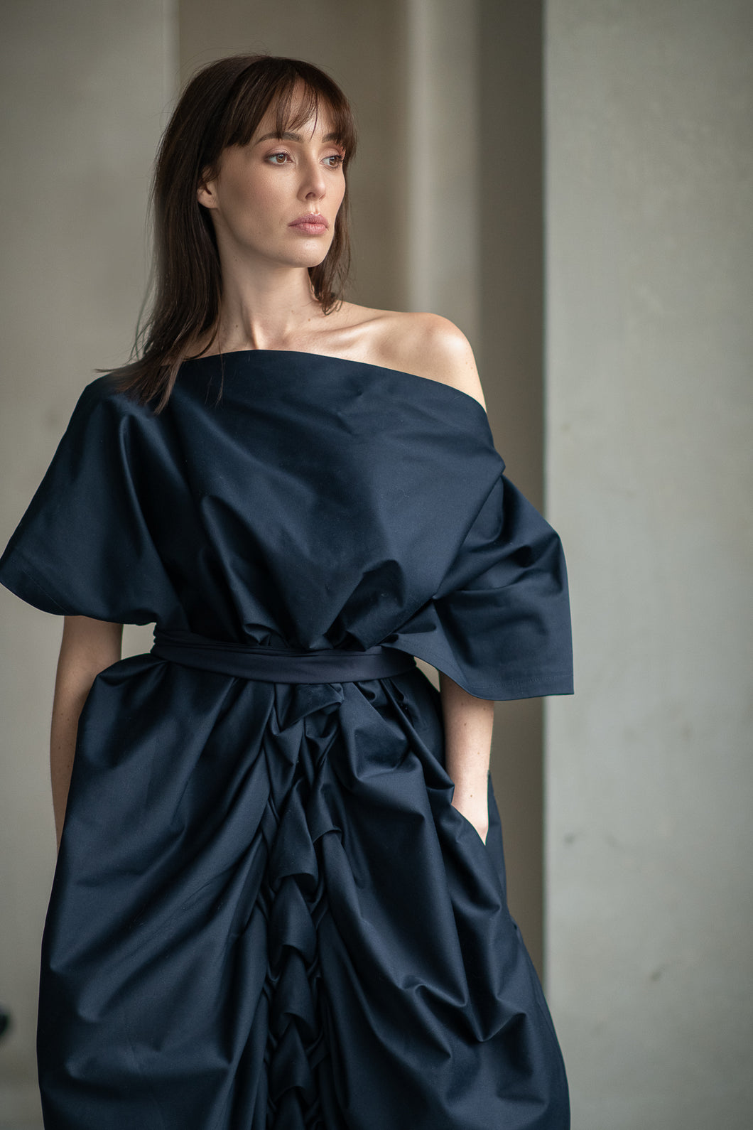 Navy Cotton Draped Dress - Amelie et Sophie
