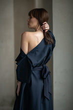 Load image into Gallery viewer, Navy Cotton Draped Dress - Amelie et Sophie