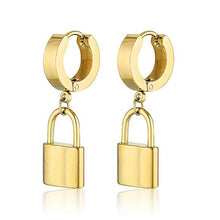 Load image into Gallery viewer, gold hoop earring with padlock charm