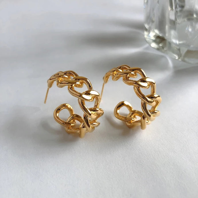gold plated chain link earring