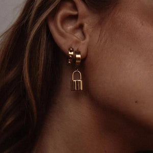 gold hoop earring with padlock charm