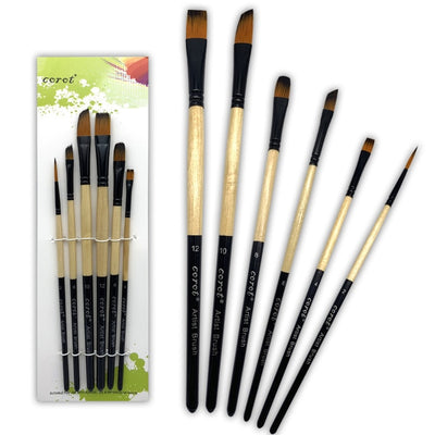 6Pcs Different Size Wood Paint Brush