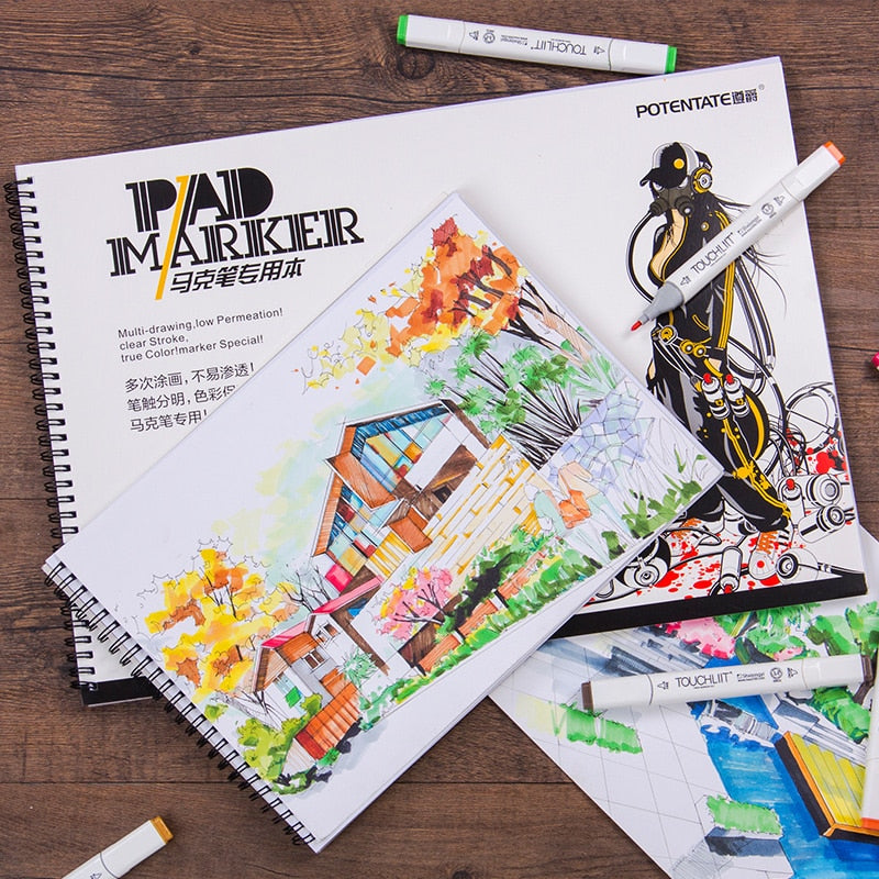 32 Sheets Spiral Marker Pad Watercolor Book