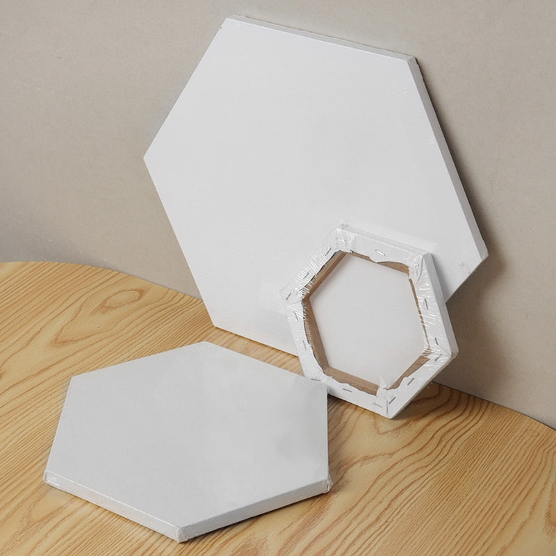 Hexagon White Cotton Canvas Board