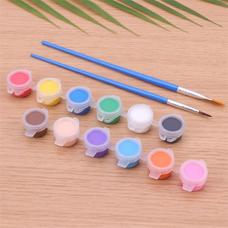 12 Colors Acrylic Paints Water Brush