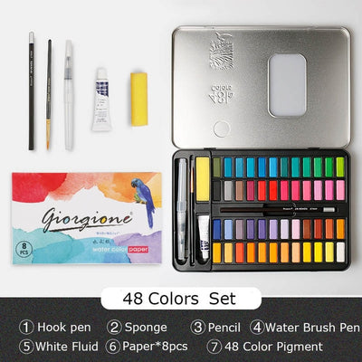 Solid Watercolor Pigment Paint Set