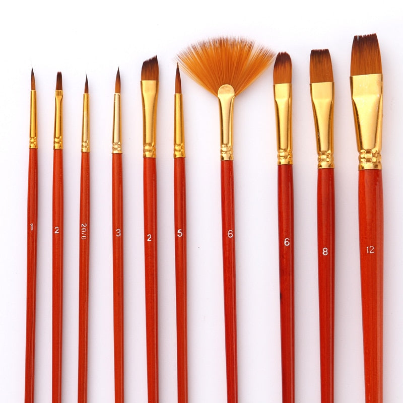 10Pcs Paint Brushes Set