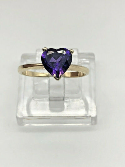 14k Yellow Gold Amethyst Heart Ring