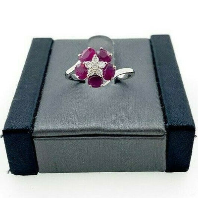 18K White Gold Ruby Ring, Flower Patter on Ring