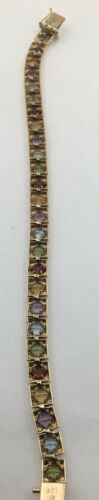 14K Yellow Gold Multi-Color Stone Tennis Bracelet