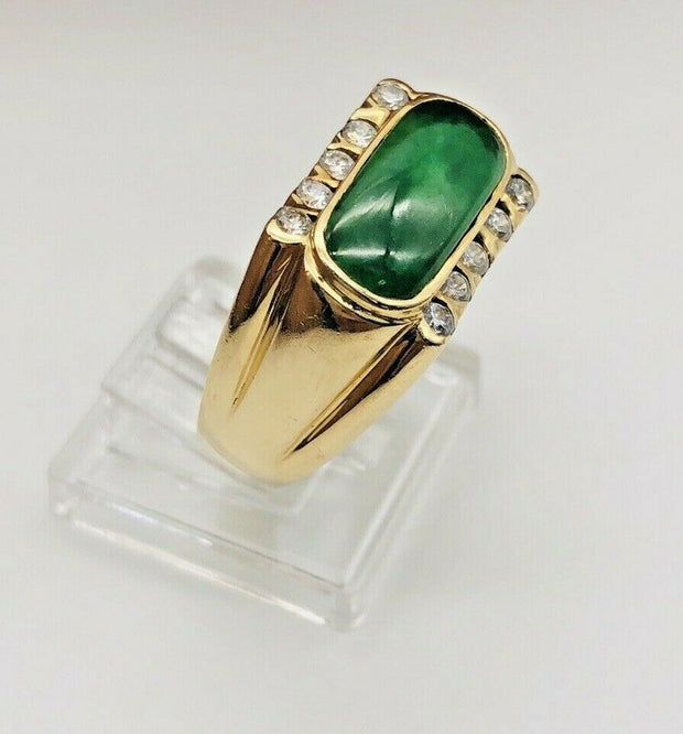 18K Yellow Gold Jadeite Ring