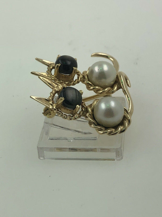 CAT TWIN BROOCH 18KT YG 8.8G WITH PEARLS