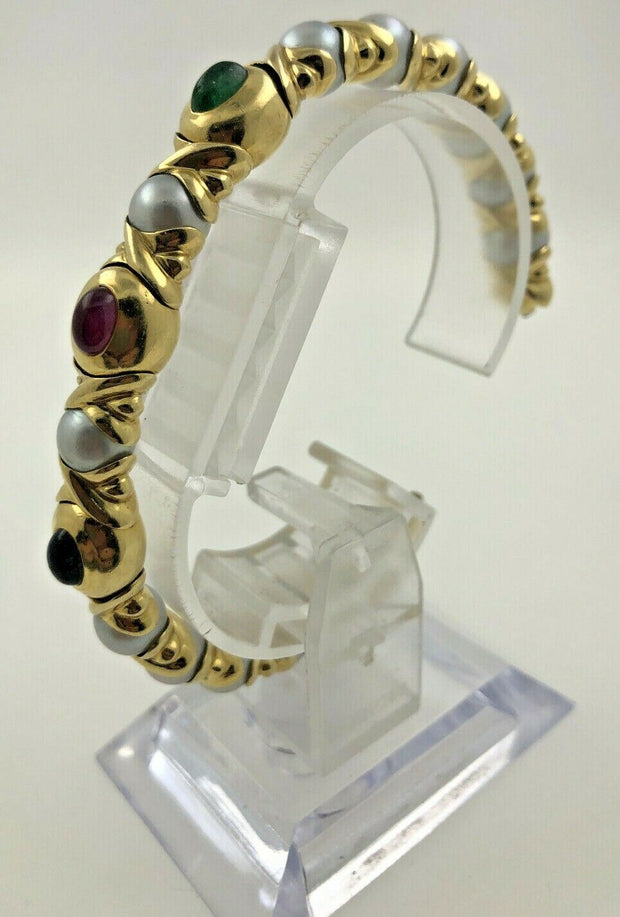 18K Yellow Gold Cuff Pearls With Color Stones Bracelet