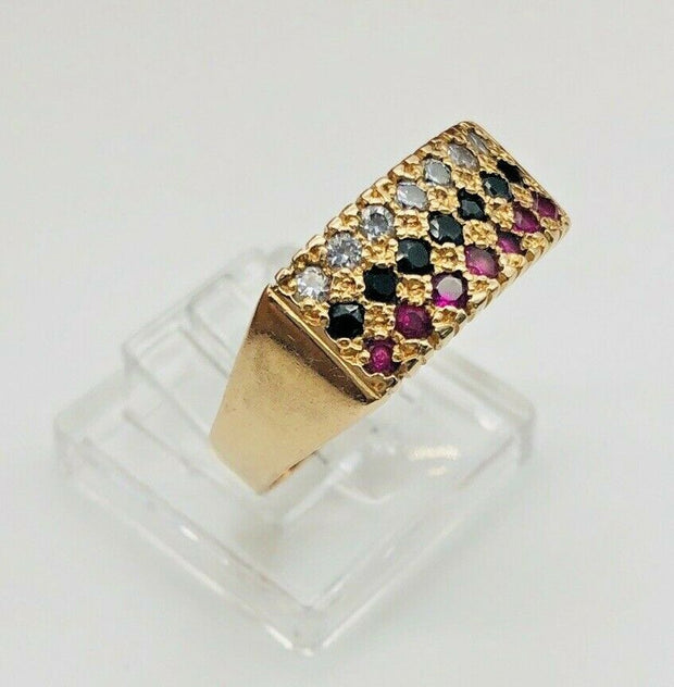 18K Yellow Gold Cz Ring - Multi Color Stones