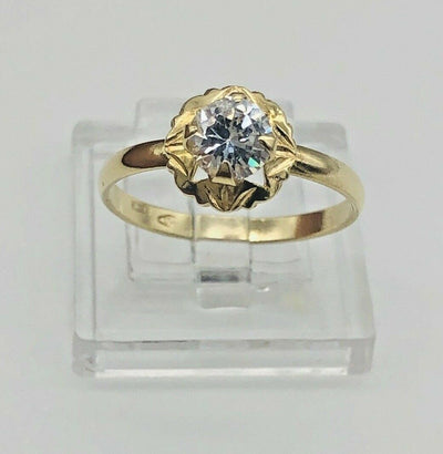 18k Yellow Gold Cz Engagement Ring