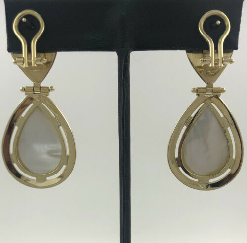 18KYG 22.3G GOLD EARRINGS Y/G, WITH PEARL DROPS