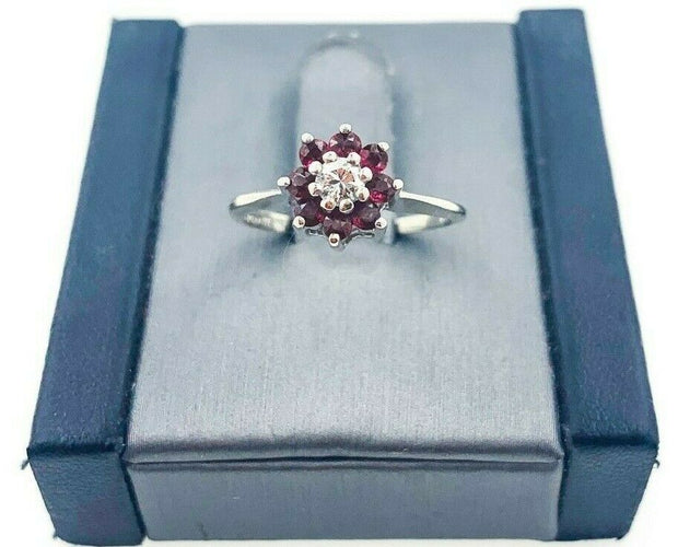 Trubrite 14K White Gold Ruby and Diamond Ring