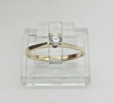 14K Yellow Gold Solitaire Ring