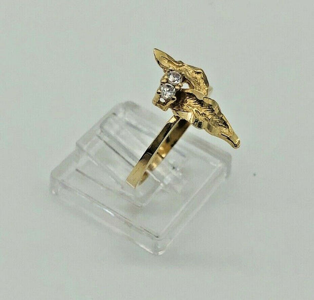10K Yellow Gold Leaves Accent Ladies Ring