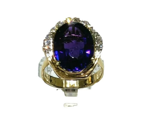 14K Yellow Gold Cocktail Amethyst Diamond Ring