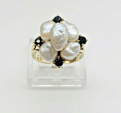 14k Yellow Gold Baroque Pearls - Sapphire Ladies Ring