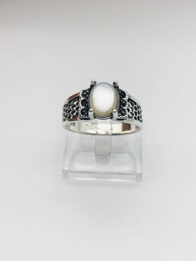 .925  Sterling Silver Abalone Fashion Ring