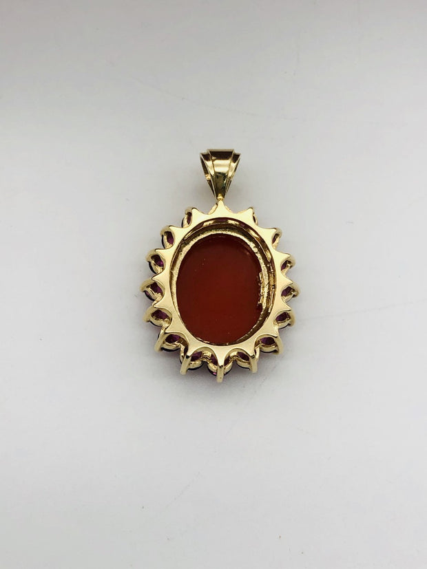 14k Yellow Gold Carved Shell Pink Cameo - Pendant