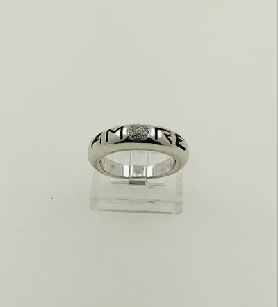 "18K White Gold Diamond Band Ring -""AMORE"""