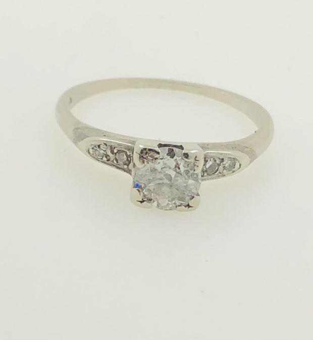 14K White Gold Solitaire Diamond Ring