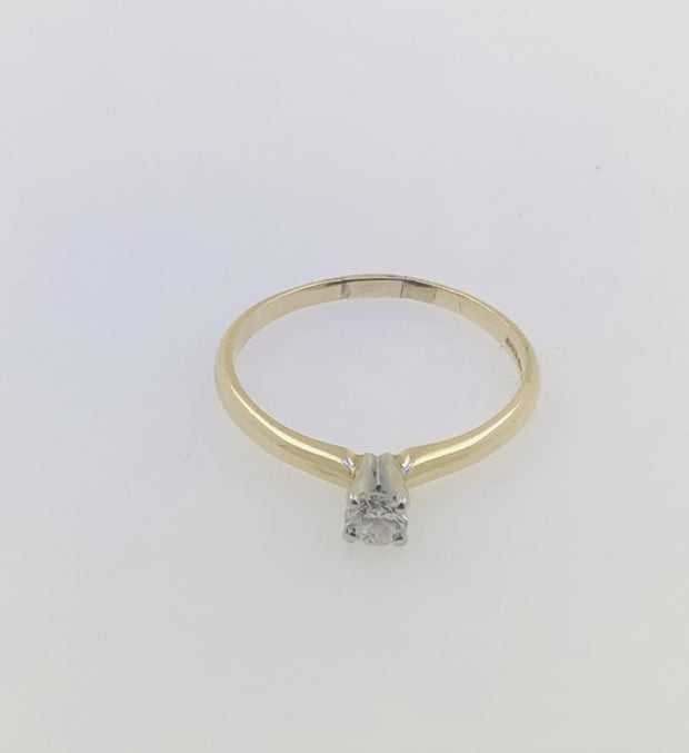 14K yellow Gold Solitaire Diamond Ring